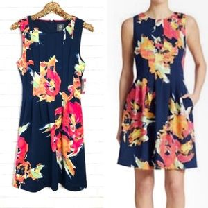 Vince Camuto Navy Floral Dress